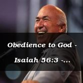 Obedience to God - Isaiah 56:3 - C3269B