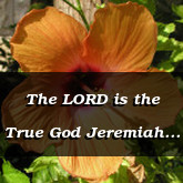 The LORD is the True God Jeremiah 10.10