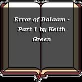 Error of Balaam - Part 1