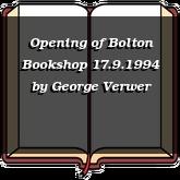 Opening of Bolton Bookshop 17.9.1994