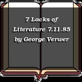 7 Lacks of Literature 7.11.85