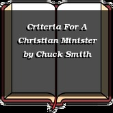 Criteria For A Christian Minister