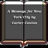 A Message for New York City