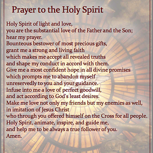prayer for the Holy Spirit gifts on us..